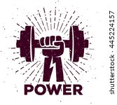 hand with dumbbell  vintage t...   Shutterstock .eps vector #445224157