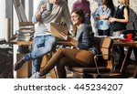 business office connection... | Shutterstock . vector #445234207