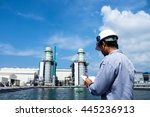 engineer is recording data with ... | Shutterstock . vector #445236913