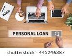 personal loan man touch bar... | Shutterstock . vector #445246387
