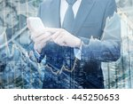 double exposure of professional ... | Shutterstock . vector #445250653