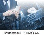 double exposure of professional ... | Shutterstock . vector #445251133