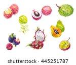 thailand's exotic fruits in...   Shutterstock . vector #445251787