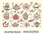 tea time. hand drawn doodle... | Shutterstock .eps vector #445252903