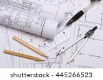 rolls of electrical diagrams... | Shutterstock . vector #445266523