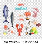seafood set design flat fish...   Shutterstock .eps vector #445294453
