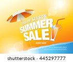 summer sale banner. vector... | Shutterstock .eps vector #445297777