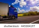 blue truck on the asphalt rural ... | Shutterstock . vector #445304197