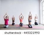 meditating together. | Shutterstock . vector #445321993