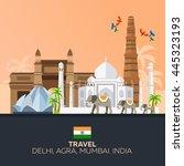 india. travel. modern flat... | Shutterstock .eps vector #445323193