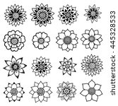 henna tattoo flowers. mehndi....   Shutterstock .eps vector #445328533