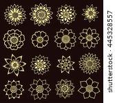 set of mehndi flower pattern...   Shutterstock .eps vector #445328557