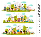 kids playground. swings ... | Shutterstock .eps vector #445354243