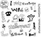 cute doodle halloween on white... | Shutterstock .eps vector #445355473