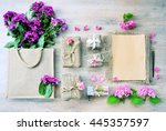 top view gifts  flat lay gifts... | Shutterstock . vector #445357597
