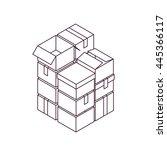 box stack. pile of cardboard... | Shutterstock .eps vector #445366117