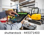 man using tablet pc against... | Shutterstock . vector #445371403