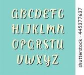hand drawn vector alphabet.... | Shutterstock .eps vector #445377637