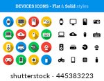 flat and solid icon set of... | Shutterstock .eps vector #445383223