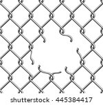 hole in the wired fence | Shutterstock .eps vector #445384417