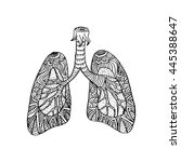 illustration of lungs. doodle...   Shutterstock .eps vector #445388647