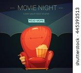 movie night cartoon background... | Shutterstock .eps vector #445393513