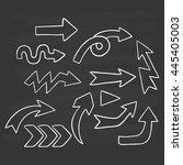 cute doodle arrows set on... | Shutterstock .eps vector #445405003