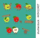 funny set apple and cinnamon... | Shutterstock .eps vector #445412407