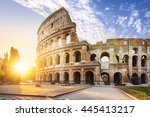 view of colosseum in rome and... | Shutterstock . vector #445413217