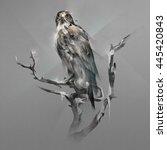 hawk on a branch | Shutterstock . vector #445420843
