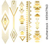 flash tatto gold geometric... | Shutterstock .eps vector #445447963
