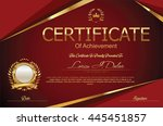 certificate or diploma template | Shutterstock .eps vector #445451857