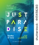 summer time party poster design ... | Shutterstock .eps vector #445458283