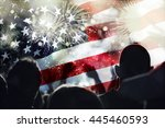 crowd of people celebrating... | Shutterstock . vector #445460593