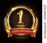 celebrating 1 years anniversary ... | Shutterstock .eps vector #445467337