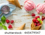 Stock photo raspberry ice cream on white wood background 445479547