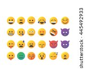 set of cute smiley emoticons ... | Shutterstock .eps vector #445492933