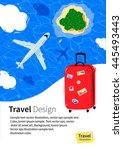 flyer design with red travel... | Shutterstock .eps vector #445493443