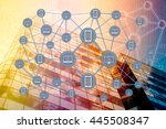 the digital currency or coded... | Shutterstock . vector #445508347