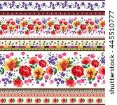 seamless cuban floral border... | Shutterstock .eps vector #445510777
