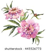 watercolor with pink peony... | Shutterstock . vector #445526773