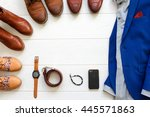 flat lay set of brown shoes... | Shutterstock . vector #445571863