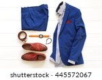 flat lay set of classic men s... | Shutterstock . vector #445572067
