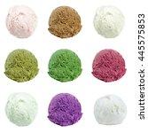 Stock photo  ice cream scoops isolated on white background 445575853