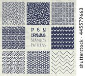 set of nine abstract pen...   Shutterstock .eps vector #445579663