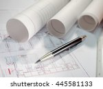 architect rolls  plans and pen  ... | Shutterstock . vector #445581133