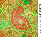 paisley vintage floral motif... | Shutterstock .eps vector #445588897
