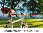 close up handlebar of bicycle... | Shutterstock . vector #445623643