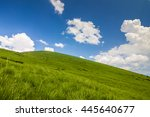 hills with green grass and blue ... | Shutterstock . vector #445640677