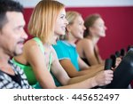 smiling european  adults in gym ... | Shutterstock . vector #445652497